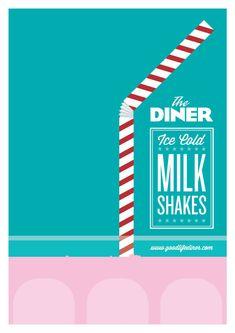 DINER Milkshake Poster by www.LimitedEditionDesign.co.uk