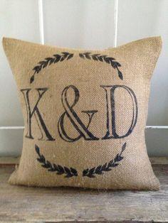 Burlap Pillow  Wreath Monogram burlap pillow by TwoPeachesDesign, $32.00.                                       Want this for sunroom!!