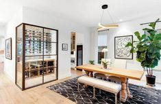 Contemporary dining room with wine closet Custom Home Bars, Bars For Home, Luxury Dining Room, Dining Room Design, Dining Rooms, Modern Interior, Interior Design, Interior Ideas, Home Wet Bar