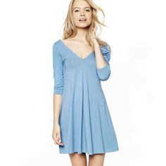 Ladies Casual V-Neck 3/4-Sleeve Solid Mini Dress S-XL 2 Colors