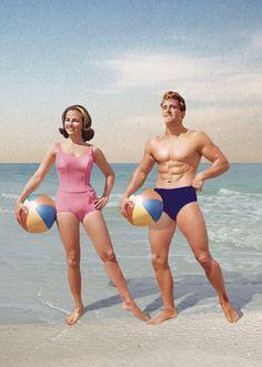 Beachball Couple Greeting Card by Max Hernn