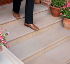 Fairstone Sawn Sandstone Steps - Golden Sand Multi for the top of the built in seating Patio Steps, Front Porch Steps, Outdoor Steps, Garden Steps, Front Steps Stone, Front Path, Front Stoop, Front Porches, Patio Doors