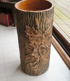 Vintage Robinson Ransbottom Tree Trunk Umbrella Stand  - Pottery Umbrella Jar Umbrella Stands, Pottery, Vase, Unique Jewelry, Handmade Gifts, Vintage, Home Decor, Ceramica, Kid Craft Gifts