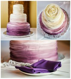 Beautiful purple ombre three tiered wedding cake by Blue Moon Bakery for a Lodge at Breckenridge fall wedding reception in Colorado mountains. - April O'Hare Photography http://www.apriloharephotography.com