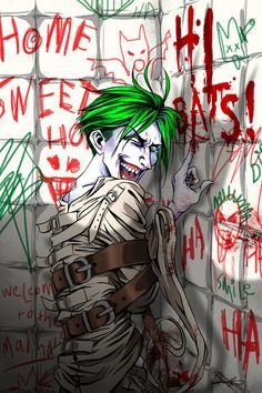 Arkham Asylum, Cell 801 by Joker Comic, Joker Art, Joker Batman, Batman Comics, Joker Images, Joker Pics, Arley Queen, Jokers Wild, Joker Poster