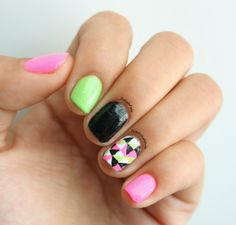 Polish Pals: Pink & Green Triangle Nails