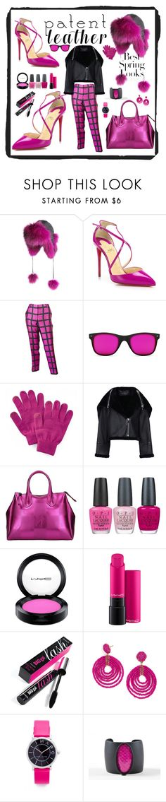 """""""Patent Leather"""" by marionmeyer ❤ liked on Polyvore featuring Overland Sheepskin Co., Christian Louboutin, J.Crew, GlassesUSA, SO, Barbara Bui, Gum by Gianni Chiarini, OPI, MAC Cosmetics and Benefit"""