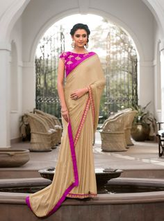 Beige Georgette Saree With Blouse 84589