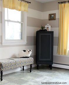 Repurposed Furniture: Kitchen Upper Cabinet to Stylish Storage Cabinet - Turn an old upper kitchen cabinet into a freestanding storage cabinet for under $50! (#…
