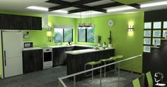 I like the lime and black contrast with white counter tops. I like the multi-level floor and ceiling joists.  I dislike the miniature stove and squared windows.