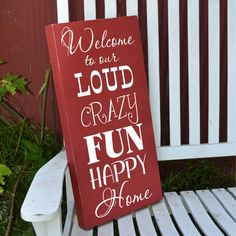 Welcome to our home sign painted wood sign.