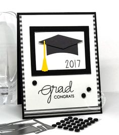 handmade graduation card from Paper Smooches ... crisp mod look in black and white with a pop of yellow ... die cut mortar board as focal element ...