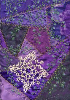 I ❤ crazy quilting & embroidery . . .  Stunning stitching on Purse3, embellished with tatting ~By LindaB