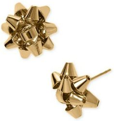 nicely kitsch yellow gold xmas present bows design understated small stud earrings