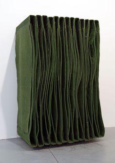 <b>Title:</b>Foot-Neck Wallspine<br /><b>Year:</b>2012-13<br /><b>Medium:</b>Canvas, distemper, cord, thread, and wood<br /><b>Size:</b>143 x 100 x 65 cm