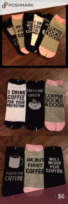 Set of 6 pairs coffee themed ankle socks 6 assorted pairs of coffee themed ankle socks, never worn or unpackaged. Pink, grey black and white, assorted designs. Forever 21 Accessories Hosiery & Socks