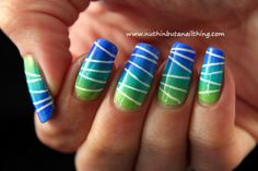 Blue, Teal, and Green Striped Gradient Nails   Nuthin' But A Nail Thing Blog   Claire Metcalfe, Nail Bloggers, Pretty Nails, Easy Nails, Ombre Nail Designs, Nail It! Magazine
