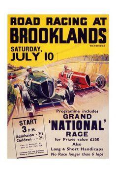 Carteles Road racing at Brooklands #coches #carreras #competicion #vintage #antiguos
