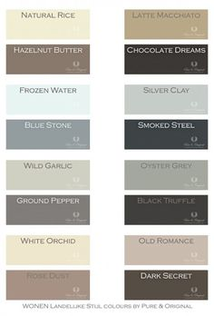 OLD romance - Warm and soft colors to make the perfect combination. Colors in Lime Paint, Chalk Paint and much more. Take a look at our website. Chalk Paint Colors, Paint Color Schemes, Interior Paint Colors, Holland House, Lime Paint, Wild Garlic, Chocolate Dreams, Tadelakt, White Orchids