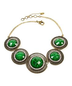 Loving this Gold & Evergreen Crystal Faye Necklace on #zulily! #zulilyfinds