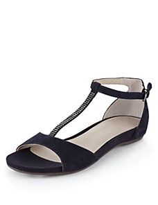 Navy Footglove™ Leather Suede Sparkling T-Bar Sandals