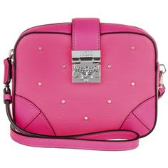 MCM Shoulder Bag - Claudia Studs Medium Crossbody Beetroot Pink - in... ($415) ❤ liked on Polyvore featuring bags, handbags, shoulder bags, magenta, leather crossbody purses, cross-body handbag, leather crossbody, leather shoulder bag and leather handbags