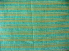 Teal Green Striped Homespun Luxurious Cotton Silk Fabric by Yard