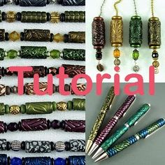 Textured Tubes & More Tutorial. Learn how to make textured tube beads and cover pens that are seamless. make textured tube beads! Polymer Clay Pens, Polymer Beads, Polymer Clay Projects, Polymer Clay Creations, Clay Beads, Polymer Clay Jewelry, Light Pull, Clay Tutorials, Beading Tutorials