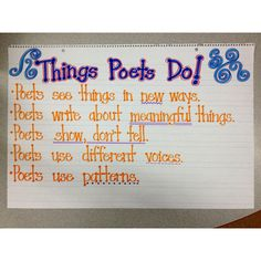 Poetry Writing Anchor Chart - each of these is its own mini-lesson