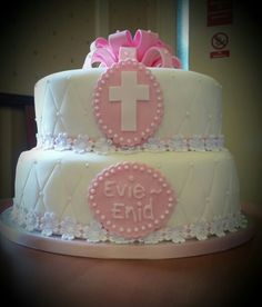 2 tier Christening Cake Evie, Christening, Weddings, Desserts, Food, Tailgate Desserts, Deserts, Wedding, Essen
