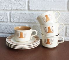 Mid Century Modern Cup & Saucer Set by kibster on Etsy, $20.00
