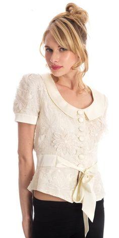 blusa de seda elegante blanca