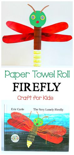 Paper Towel Roll Firefly Craft for Kids: Use an empty cardboard tube to make a lightning bug art project inspired by The Very Lonely Firefly by Eric Carle! Great addition to a unit on insects or bugs and perfect for summer! ~ BuggyandBuddy.com