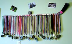 An idea I had to display my daughter's hockey medals, inspired by Pinterest, of course!
