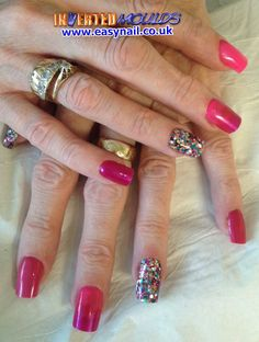 Pink acrylic with chunky multi colour glitter feature nail.  By Shanti   IM's available from www.easynail.cco.uk   Acrylics from www.thenailartist.co.uk
