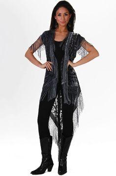 Long black velvet western vest lavished with rows of fine ...