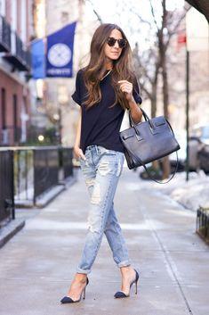 Arielle Nachami on pukeutunut luiseva poikaystävä farkut Black Orchid, sininen t-paita Iris ja muste, kengät Gianvito Rossi, laukku Saint Laurentin ja aurinkolasit ovat Illesteva