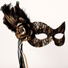Black and gold lace masquerade mask $40