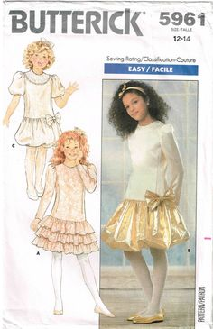 Girls Fitted Dress Dropped Waist Ruffled Bubble Hemline Butterick 5961 Sewing Pattern Vintage 1980s by PeoplePackages