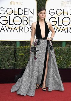 Jessica Biel in an Elie Saab dress and Salvatore Ferragamo shoes Golden Globes 2017
