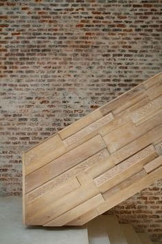 Timber balustrade with brick wall. Brick Architecture, Architecture Details, Interior Architecture, Brick In The Wall, Brick Wall, Cafe Concept, Stair Detail, Stair Landing, Timber Cladding