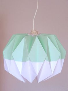 How to make origami lampshade 3d origami pinterest origami origami lamp shade pastel green by rocketgirls on etsy aloadofball