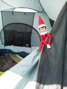 #HealthyElf tries out tent camping, since elves and people alike enjoy fresh air and physical activity.