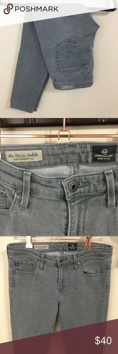 """AG Adriano Goldscmied Stevie Ankle Gray Jeans Slim straight leg gray wash jeans Style PVG 1377-SOG  Inseam 27.5"""" Rise 8"""" 70% Cotton 28% Lyocell 2% Polyurethane  Gently used without any major signs of wear, holes or stains All measurements are approximate Ag Adriano Goldschmied Jeans Straight Leg"""