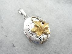 Golden Grapes And Pearls Unique Silver Locket by MSJewelers