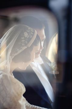 Wedding photo, through the window