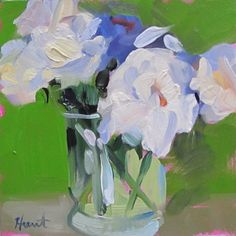 An abstract realist painting titled 'White Peony by LindaHunt, $100.00