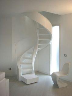 Small Space Staircase, Modern Staircase, Spiral Staircase, Staircase Design, Attic Bedrooms, Stair Steps, Stairways, House Design, Interior Design