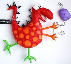 Dinosaur named EddiE ... BuTT UgLee Red and orange от buttuglee