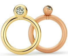 Rings: Libero by Niessing  Yellow or red gold and a mobile diamond